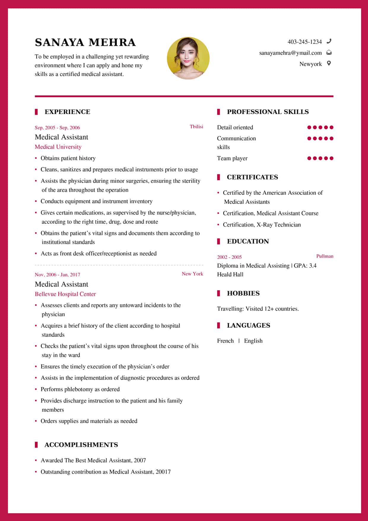 Medical Assistant Resume Sample My Resume Format Free Resume Builder