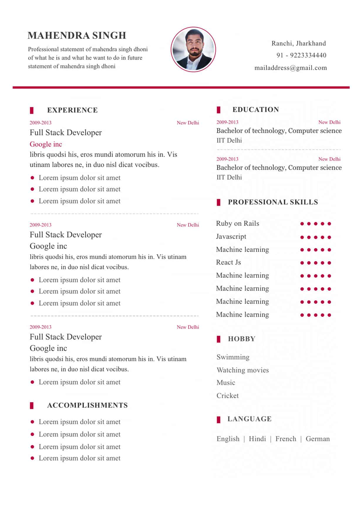 resume-format - my resume format